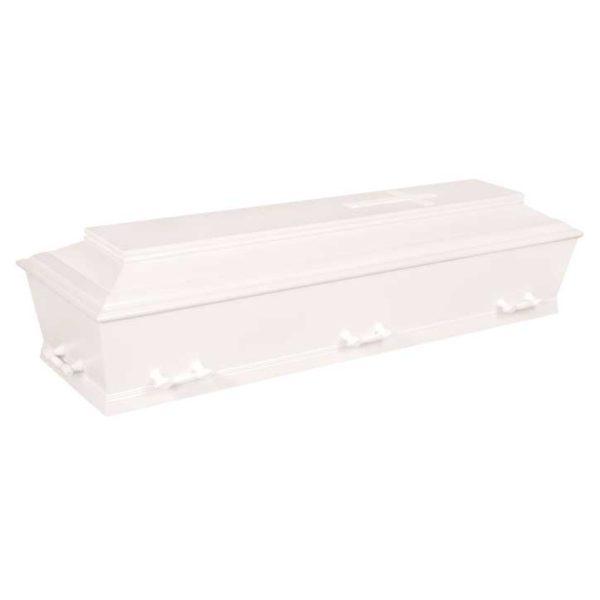 Kiste, kremering og begravelse, hvid glat, med / uden kors